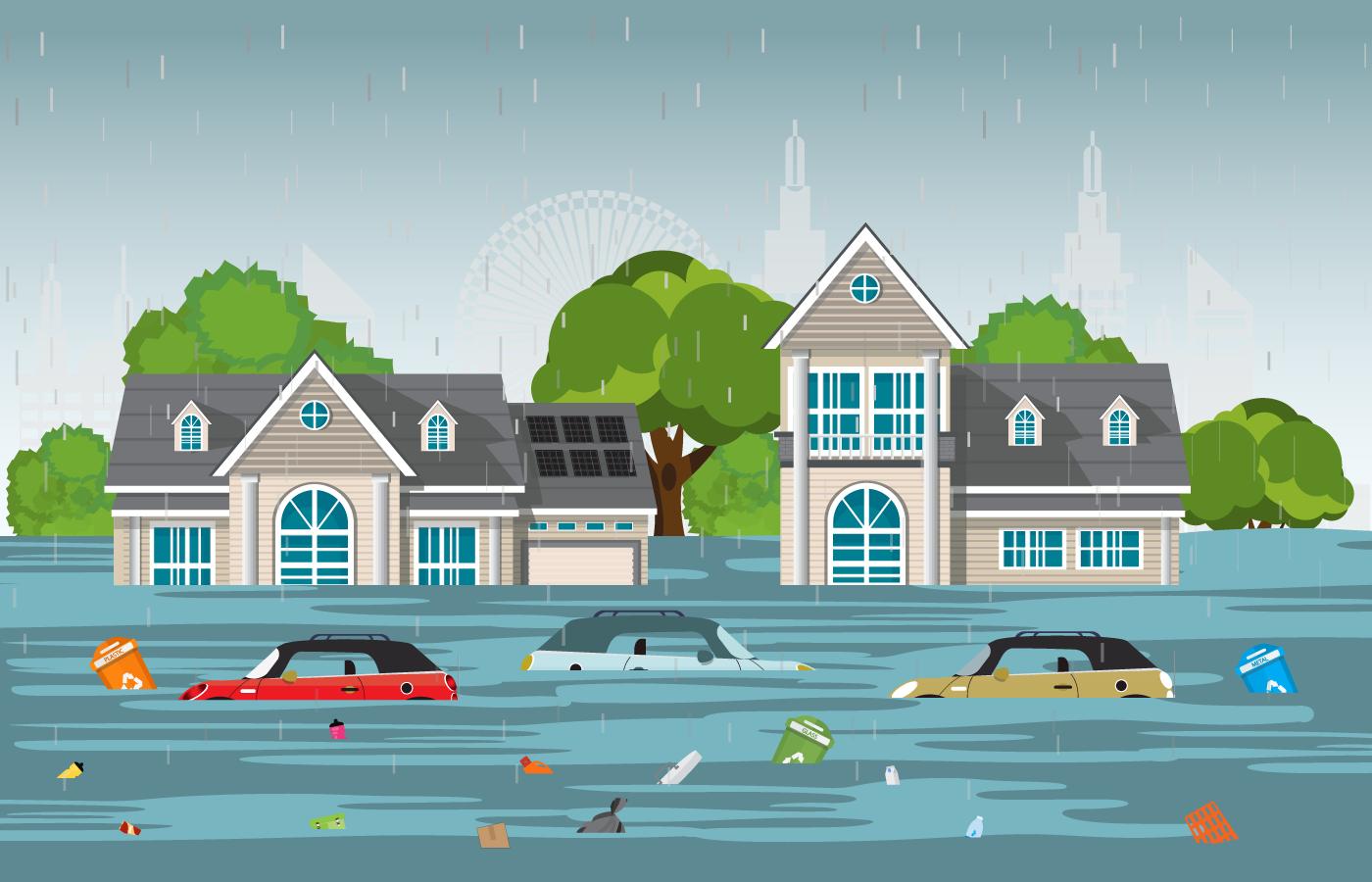 Cartoon houses and cars flooded in neighborhood