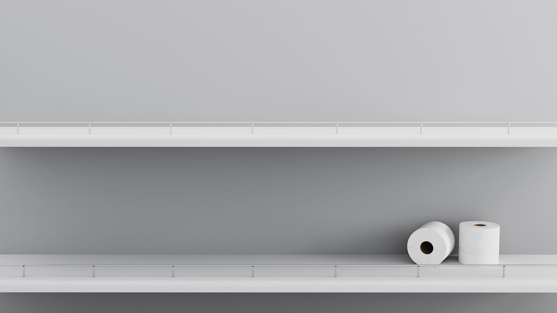 Two rolls of toilet paper on shelf